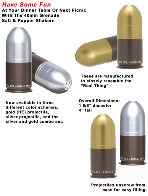 40mm Grenade Salt Pepper Shaker Sets
