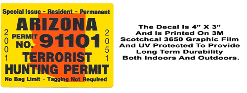 Arizona Terrorist Hunting Permit Decal--Five Pack