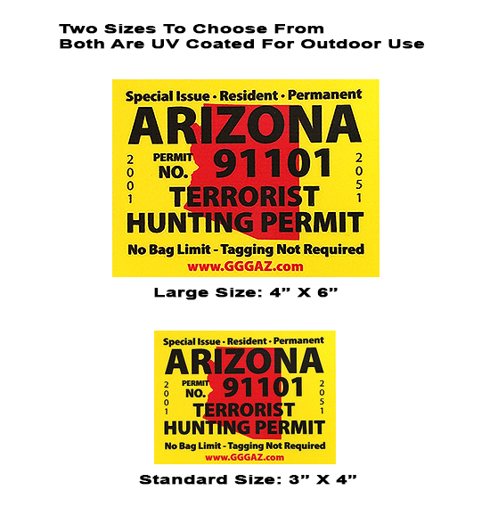 Arizona Terrorist Hunting Permit--Magnet