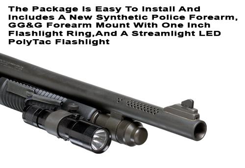 Mossberg 500/590 Forearm Flashlight Mount and Flashlight Package