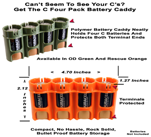Size C Four Pack Battery Caddy