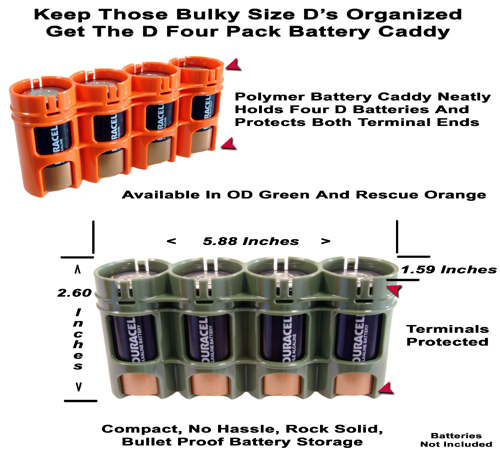 Size D Four Pack Battery Caddy