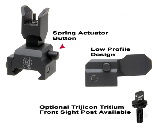 Spring Actuated Flip Up Front Sight For Tactical Forearms