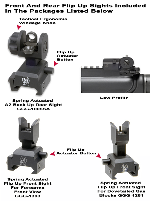 AR Spring Actuated Front And Rear Sight Packages