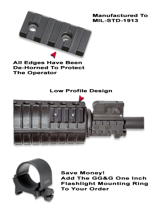 AR-15 Forearm Flashlight Mounting Rail