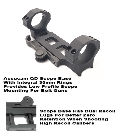 Quick Detach Scope Base With Integral 30mm Rings For Bolt Guns