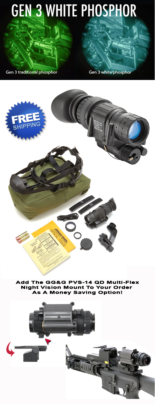 PVS-14 Night Vision Scope With White Phosphor Intensifier