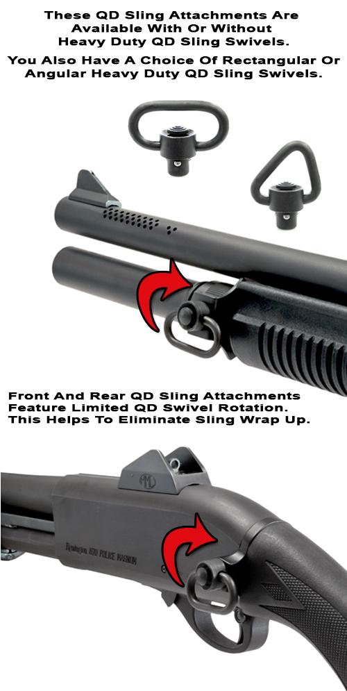 Remington 870 Quick Detach Front And Rear Sling Attachments