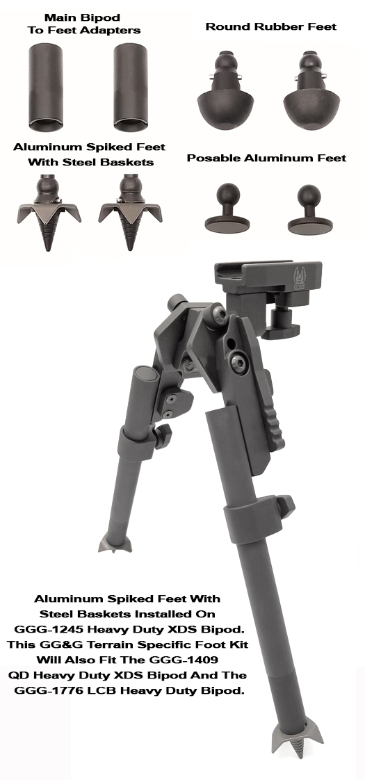 Terrain Specific Interchangeable Bipod Feet For GGG-1245, 1409, and GGG-1776 Bipods