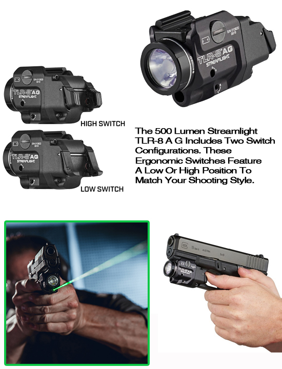STREAMLIGHT TLR-8AG Flex Weapon Light With Green Laser