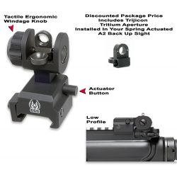 Spring Actuated A2 Back Up Sight With Tritium